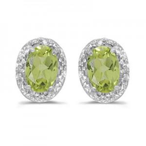 14k White Gold Oval Peridot And Diamond Earrings