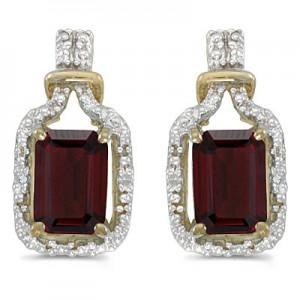 14k Yellow Gold Emerald-cut Garnet And Diamond Earrings