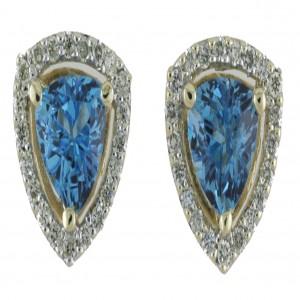 14k Yellow Gold Gemstone and Diamond Earrings