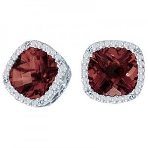 14K White Gold 7mm Cushion Garnet and Diamond Earrings