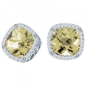 14K White Gold 7mm Cushion Lemon Quartz and Diamond Earrings