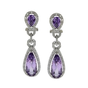 14K White Gold Large Pear Amethyst and Diamond Semi Precious Dangle Earrings