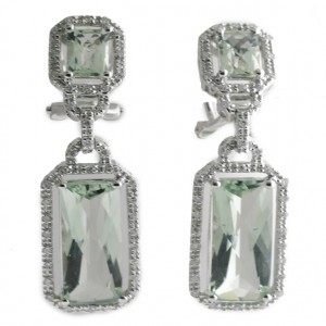 14K White Gold Large Emerald Cut Green Amethyst and Diamond Semi Precious Dangle