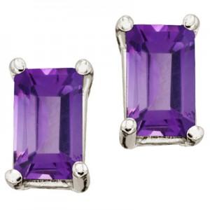 14K White Gold Birthstone Emerald Cut Amethyst Earrings
