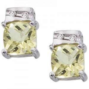 14K White Gold 5 mm Lemon Quartz and Diamond Earrings