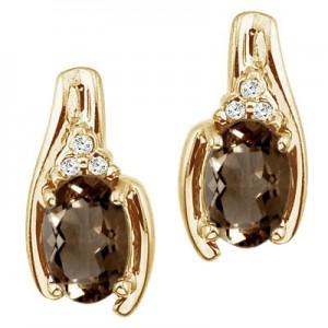 14K Yellow Gold Smoky Topaz and Diamond Earrings