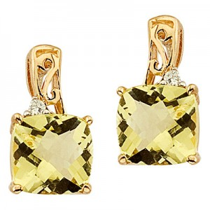 14K Yellow Lemon Quartz and Diamond Filigree Earrings