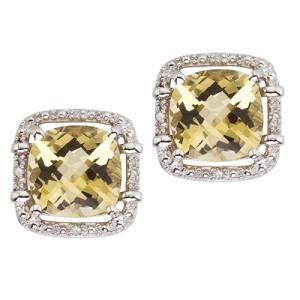 14K White Gold Lemon Quartz and Diamond Earrings