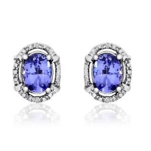 14K White Gold 7x5 Oval Tanzanite and Diamond Fashion Earrings