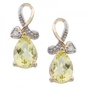 14K Yellow Gold Pear Lemon Quartz and Diamond Earrings