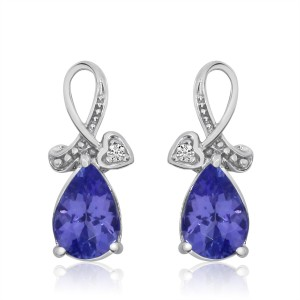 14K White Gold 7x5 mm Pear Tanzanite and Diamond Heart Ribbon Fashion Earrings