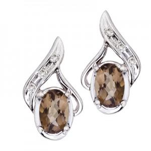 14K White Gold Oval Smoky Topaz and Diamond Earrings