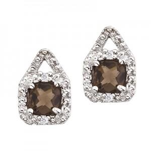 14K White Gold Smoky Topaz and Diamond Earrings