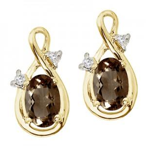 14K Yellow Gold Oval Smoky Topaz and Diamond Figure 8 Earrings