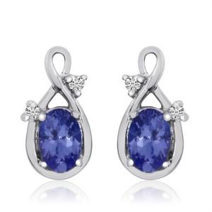 14K White Gold 6x4 mm Oval Tanzanite and Diamond Swirl Fashion Earrings