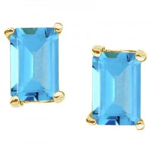 14K Yellow Gold Emerald Cut Blue Topaz Earrings