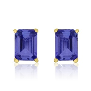 14K Yellow Gold 7x5 Octagonal Tanzanite Stud Earrings