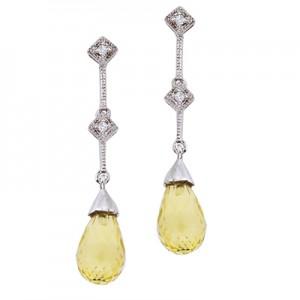 14K White Gold Dangling Lemon Quartz Briolette Earrings