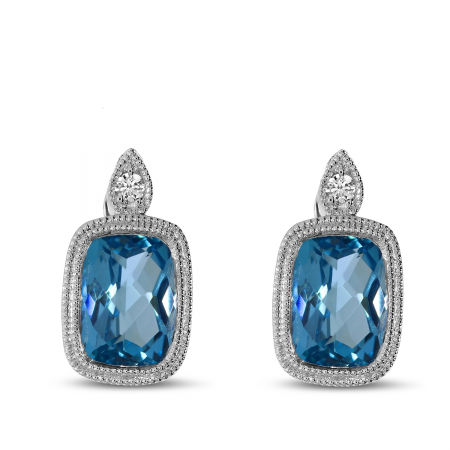 14K White Gold Blue Topaz Cushion Semi & Diamond Earrings