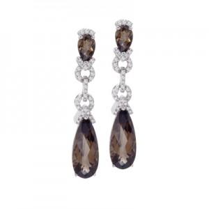 14K White Gold Pear Smoky Topaz and Diamond Dangle Omega Earrings