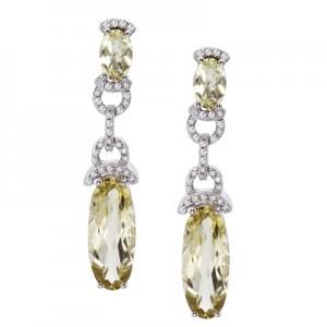 14K White Gold Oval Lemon Quartz and Diamond Dangle Omega Earrings