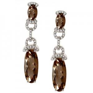 14K White Gold Oval Smoky Topaz and Diamond Dangle Omega Earrings