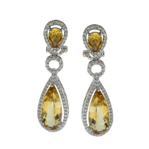 14K White Gold Large Pear Citrine and Diamond Semi Precious Dangle Omega Back Ea