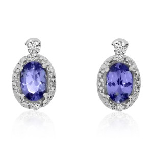 14K White Gold 6x4 Oval Tanzanite and Diamond Earrings