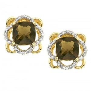 14K Yellow Gold 6mm Cushion Smoky Topaz and Diamond Earring
