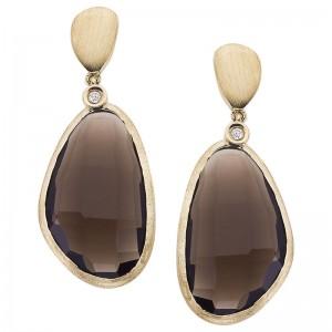 14K Brushed Yellow Gold Diamond and 20 Ct Assymetrical Oval Smoky Topaz Dangle F