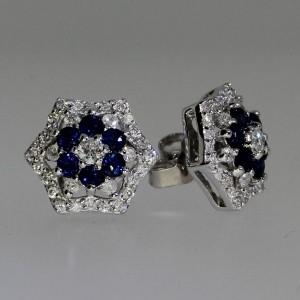 14k White Gold Precious and Diamond Flower Earrings