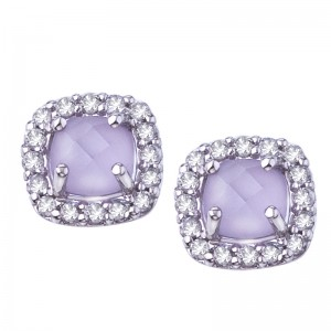 14K White Gold Frosted Faceted 5 mm Cushion Pink Amethyst and Diamond Earrings