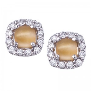 14K White Gold 4 mm Frosted Citrine Cushion Cabochon and Diamond Earrings