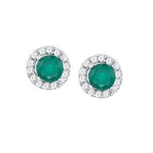 14K White Gold Precious 5 mm Round Emerald and Diamond Halo Earrings
