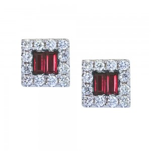 14K White Gold Diamond and Baguette Ruby Square Earrings
