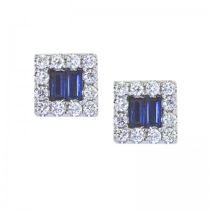 14K White Gold Diamond and Baguette Sapphire Square Earrings