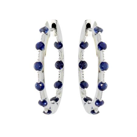 14k White Gold Sapphire Hoop Earrings