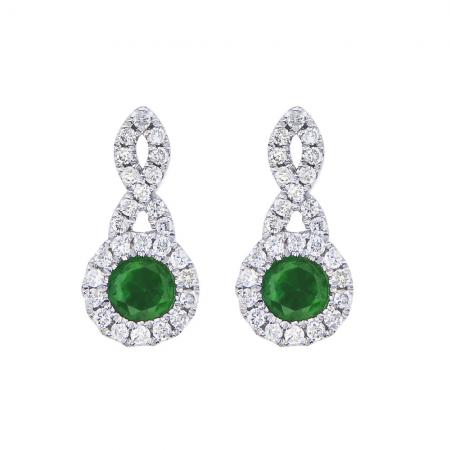 14K White Gold Swirl Emerald and Diamond Earrings