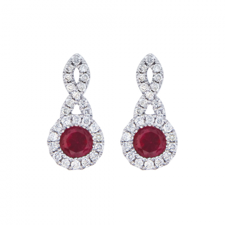 14K White Gold Swirl Ruby and Diamond Earrings