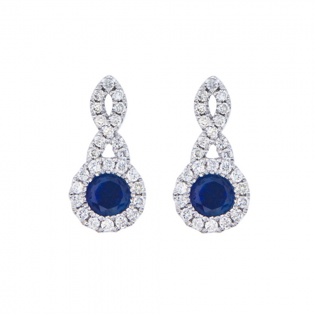 14K White Gold Swirl Sapphire and Diamond Earrings