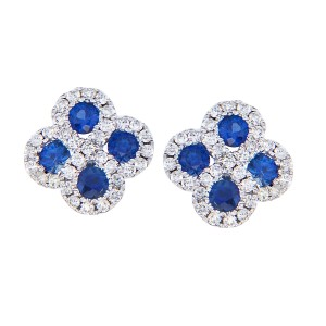 14K White Gold .60 Ct Precious Round Sapphire and Diamond Clover Post Earrings