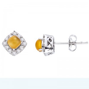 14K White Gold 4mm Cushion Frosted Citrine Cabochon and Diamond Post Earrings