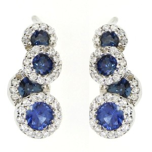 14k White Gold Cascading Precious and Diamond Earring