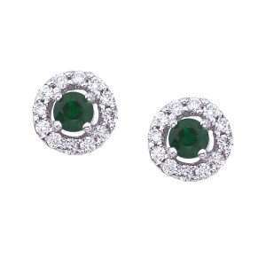 14K White Gold 4.5 mm Round Precious Floating Emerald and Diamond Stud Earring