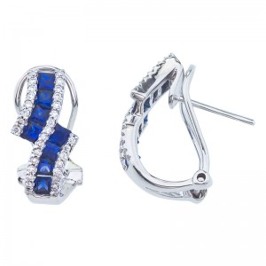 14K White Gold Precious Princess Sapphire and Diamond Bypass Clip Earrings