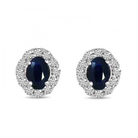 14K White Gold Diamond Halo & Oval Sapphire Earrings