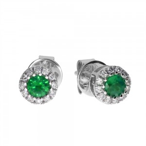 14k White Gold Precious Emerald and Diamond Round Earrings