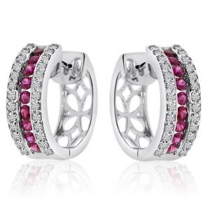 14k White Gold Precious and Diamond Earrings