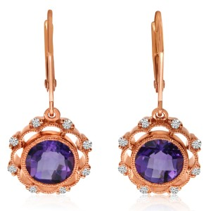 14K Rose Gold 7mm Round Amethyst and Diamond Semi Precious Dangle Earrings