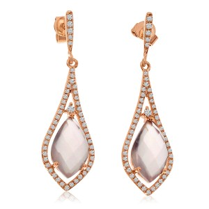 14K Rose Gold Marquise Rose Quartz and Diamond Semi Precious Dangle Earrings